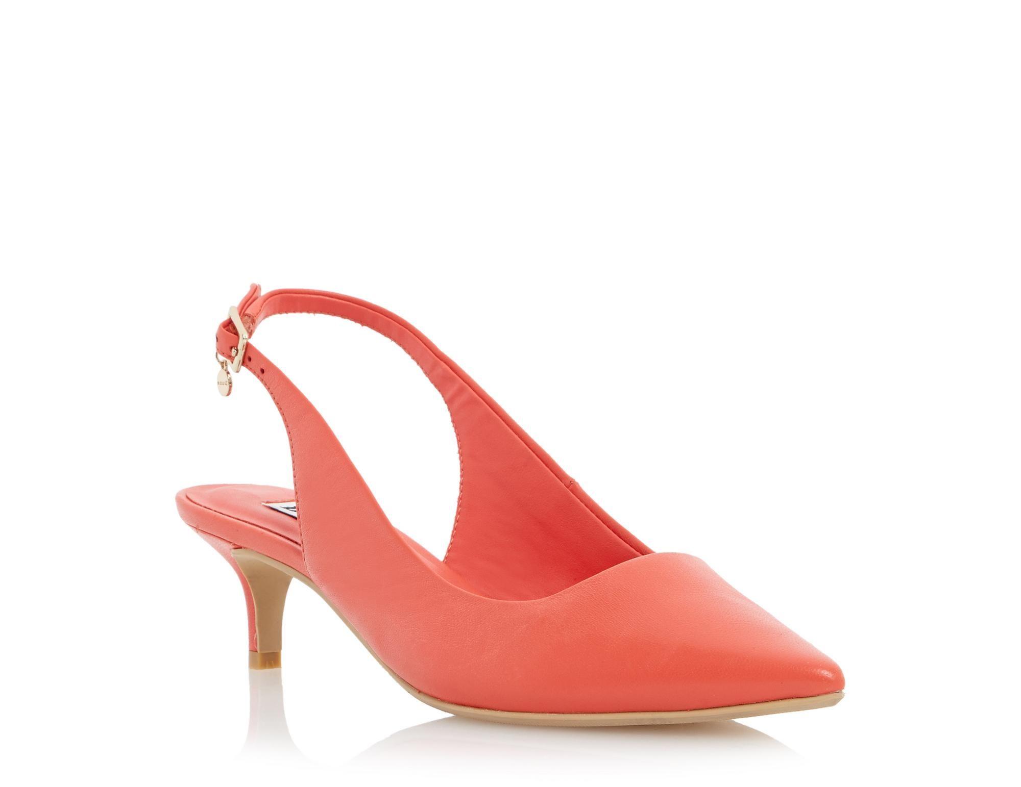 Dune Ladies Cathryne Kitten Heel Slingback Court Shoe Orange Dune Shoes Online Heels Womens High Heels Fashion Shoes