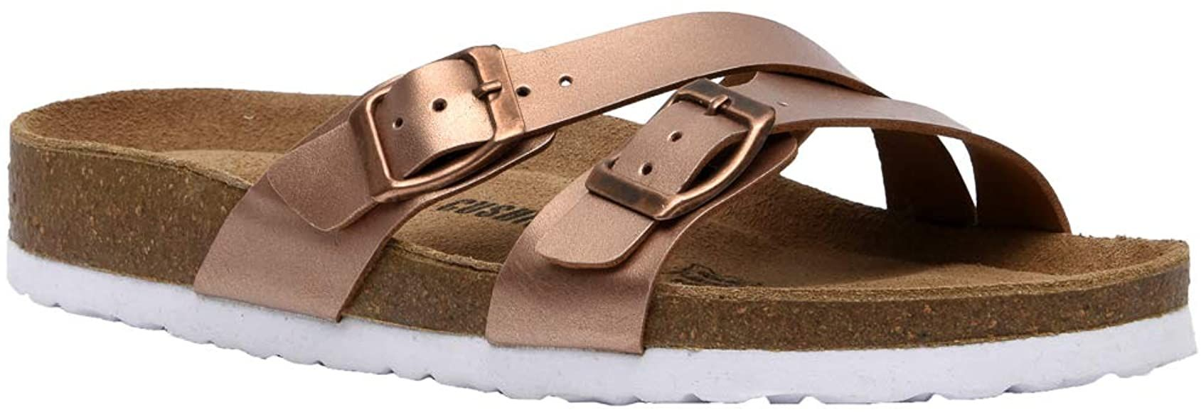 Amazon Com Cushionaire Women S Liza Cork Footbed Sandal With Comfort Rose Gold 8 5 Slides In 2020 Footbed Sandals Cork Footbed Sandals Sandals