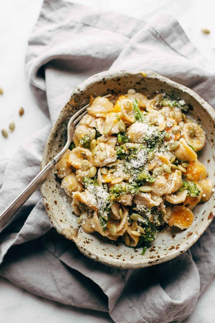 Creamy Parmesan Orecchiette with Butternut Squash and Broccolini - Pinch of Yum