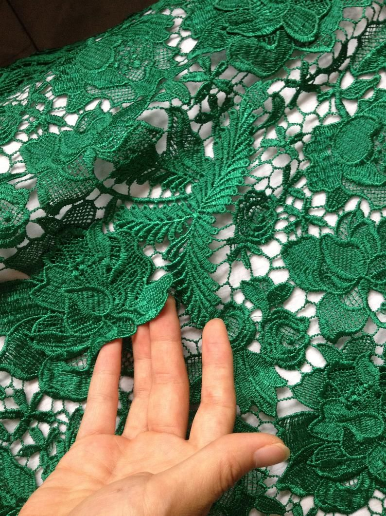 Emerald Crocheted Lace Fabric with 3D design, green guipure lace fabric with 3d flowers