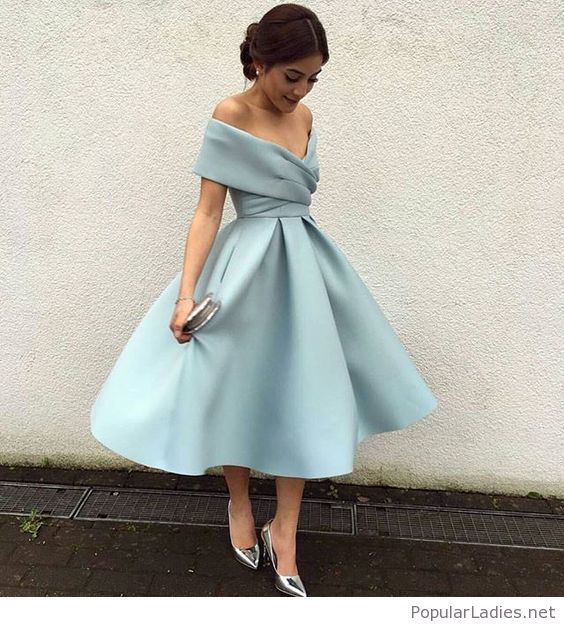 3f933adcc9a0 Light blue vintage dress style with silver accessories