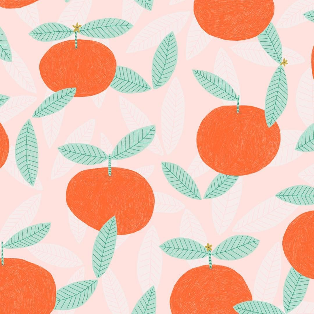 """Claire  on Instagram: """"This lovely bright mandarin pattern was inspired by the first China stamp I created (a few posts back!).. I love making patterns!  .…"""""""