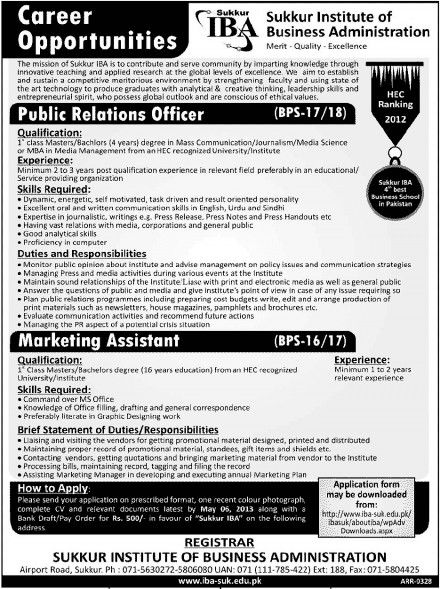 Public Relations Officer  Marketing Assistant Jobs in Sukkur IBA