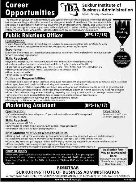 Public Relations Officer  Marketing Assistant Jobs in Sukkur IBA - public relations job description