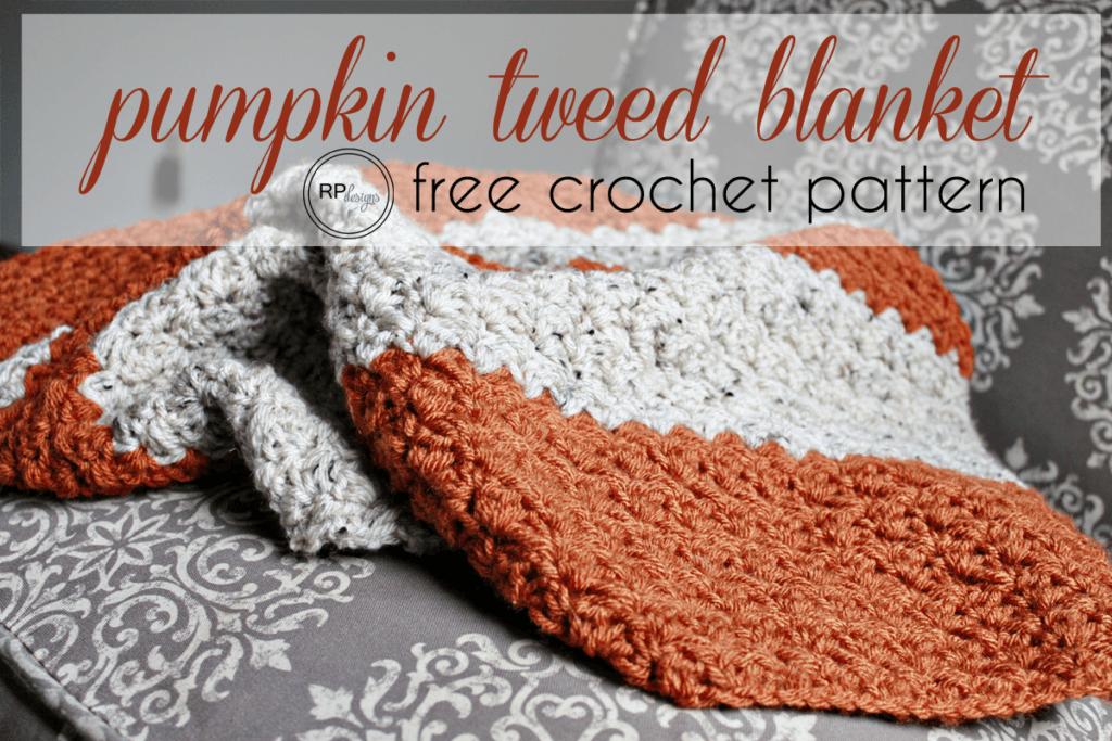 The Coziest Fall Pumpkin Tweed Blanket