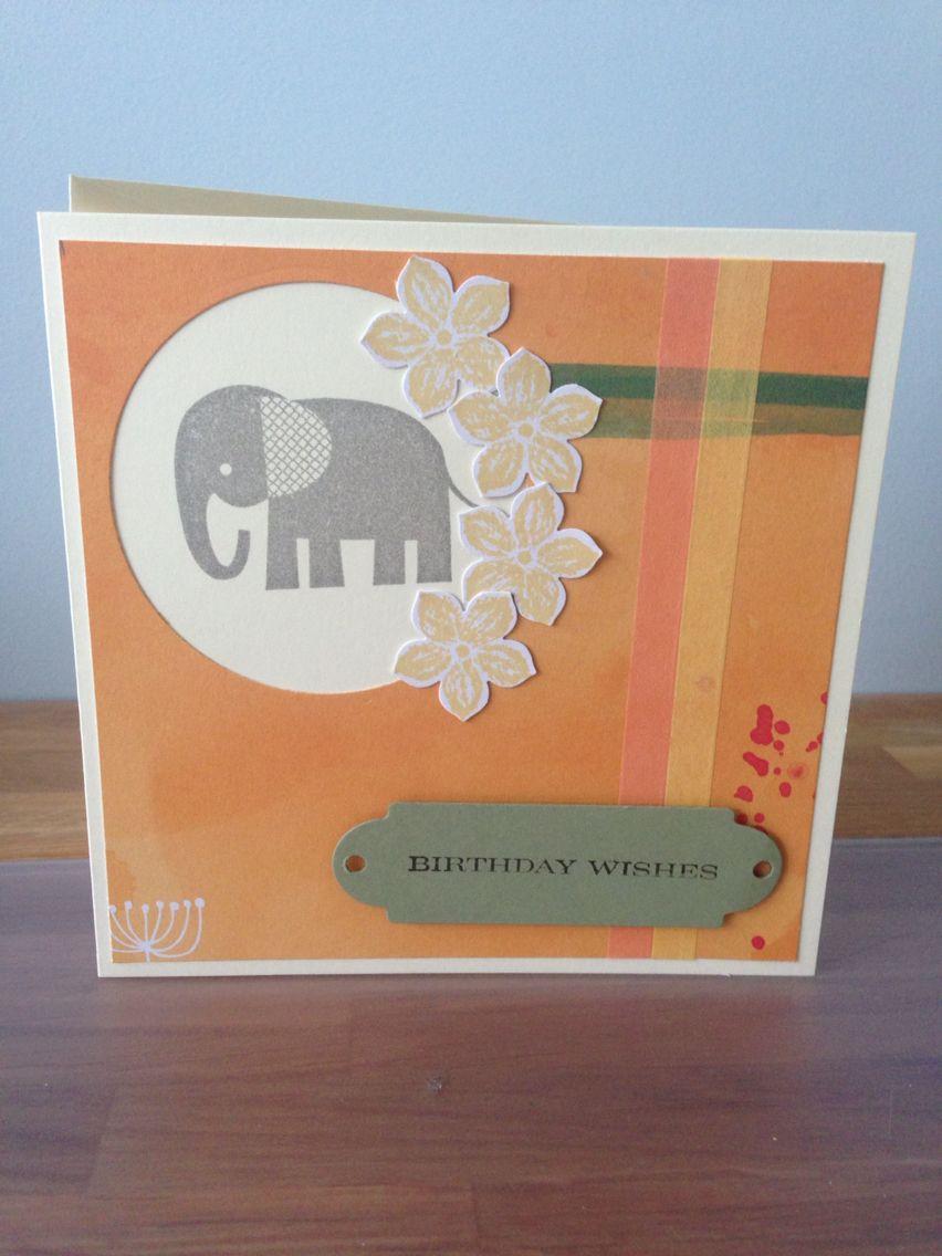 Stampin up elephant stamp happy birthday card by nicky m handmade