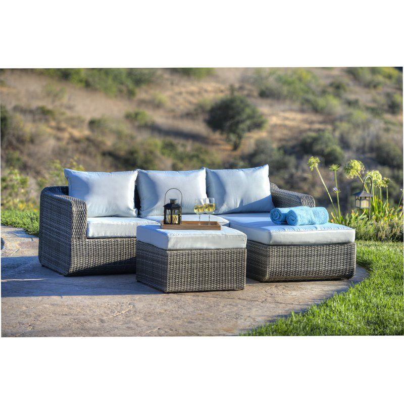 Penwell 3 Piece Sofa Seating Group With Cushions Conversation Set Patio 3 Piece Sofa Light Blue Cushions