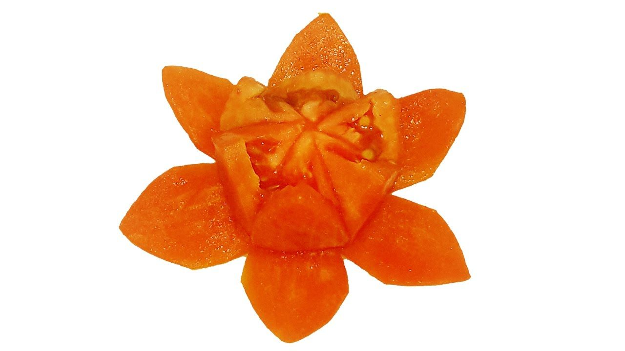 Lotus flower how to make tomato lotus flower tomato carving flower lotus flower how to make dhlflorist Image collections