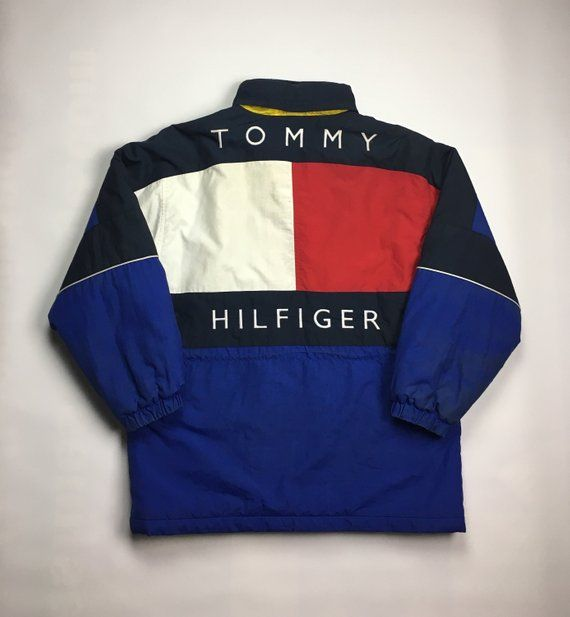 1990s Vintage TOMMY HILFIGER Big Flag Logo Puffer Jacket