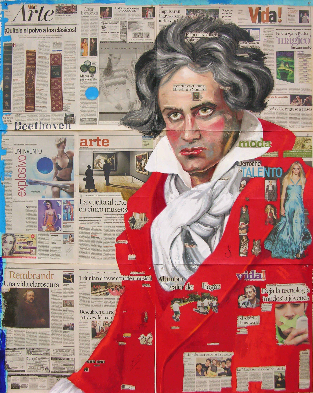 "óleo sobre periodico Salvador Diaz ""Beethoven"""