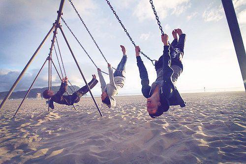 summer vintage friends fun beach sand swings swing