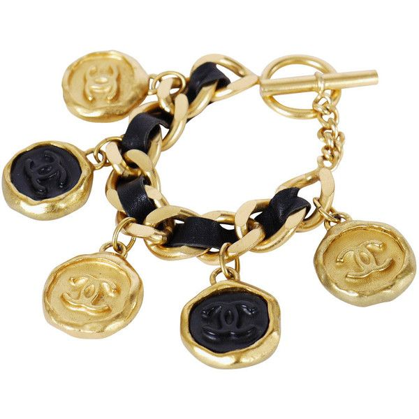 Pre-Owned Chanel 2 Tone Charm Gold Chunky Bracelet ($1,280) ❤ liked on Polyvore featuring jewelry, bracelets, jewels, no color, gold chain bracelet, gold bracelet, vintage gold bracelet, vintage charm bracelet and black bracelet