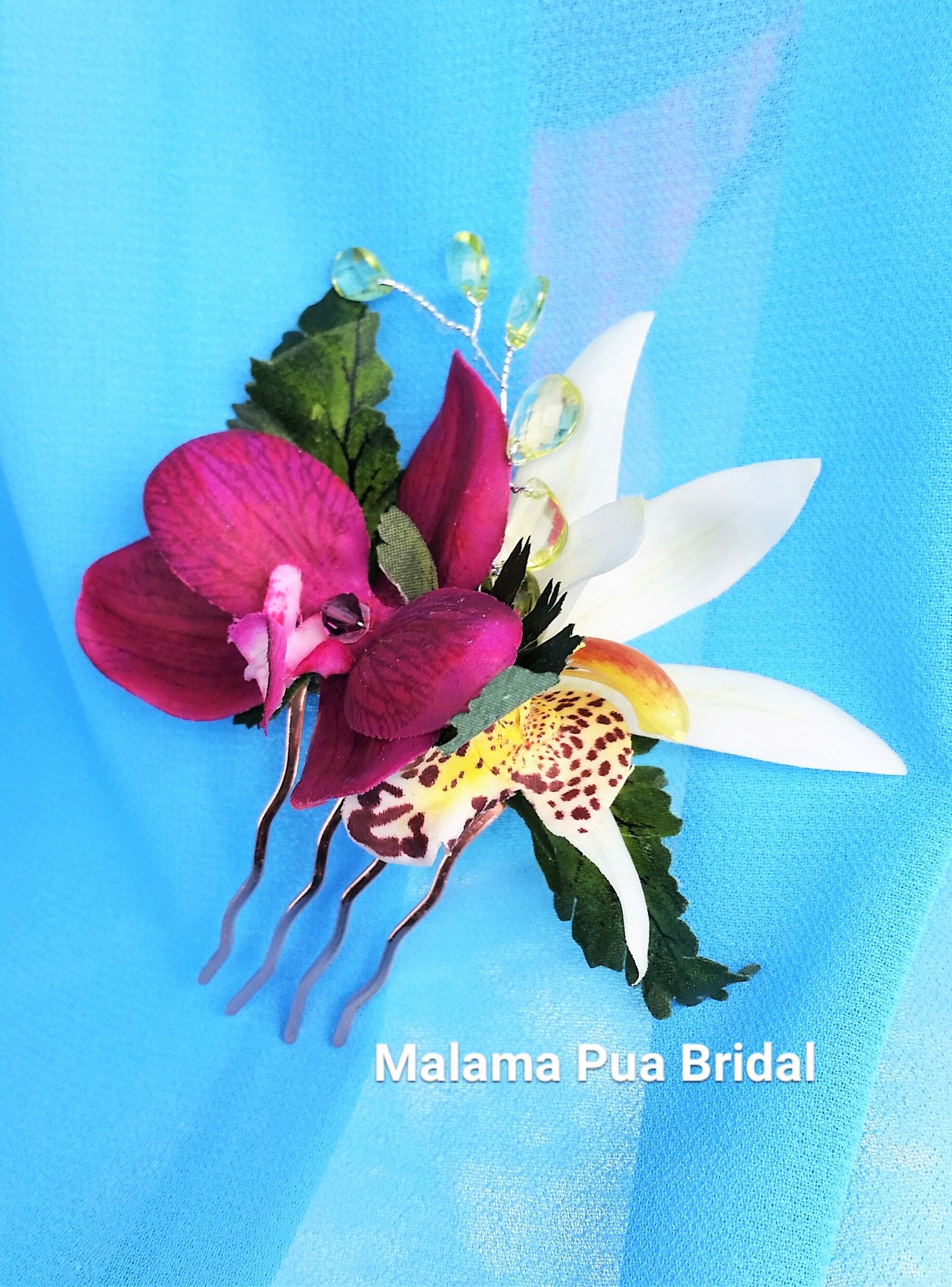 Wedding Hair Clip Tropical Hair Accessory Real Touch Orchid