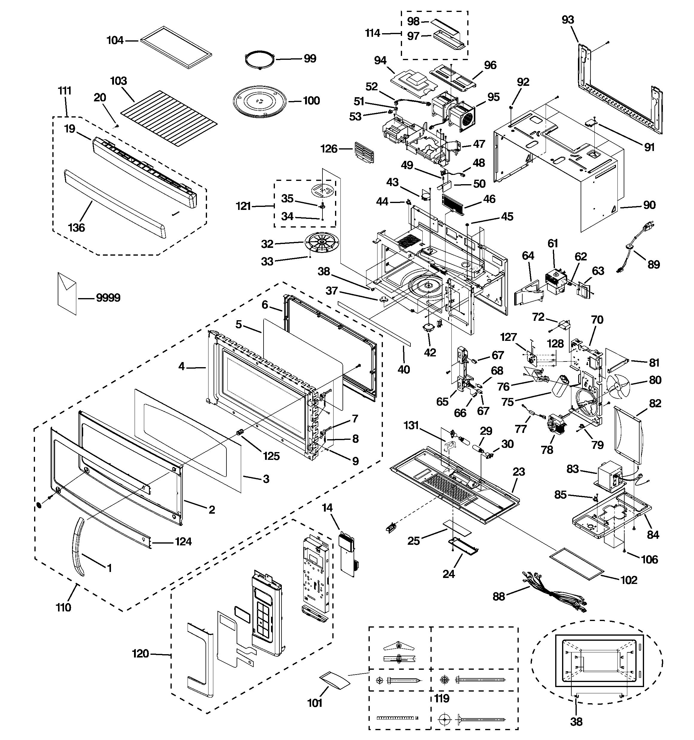 Ge model JNM1851SM2SS microwave/hood combo genuine parts