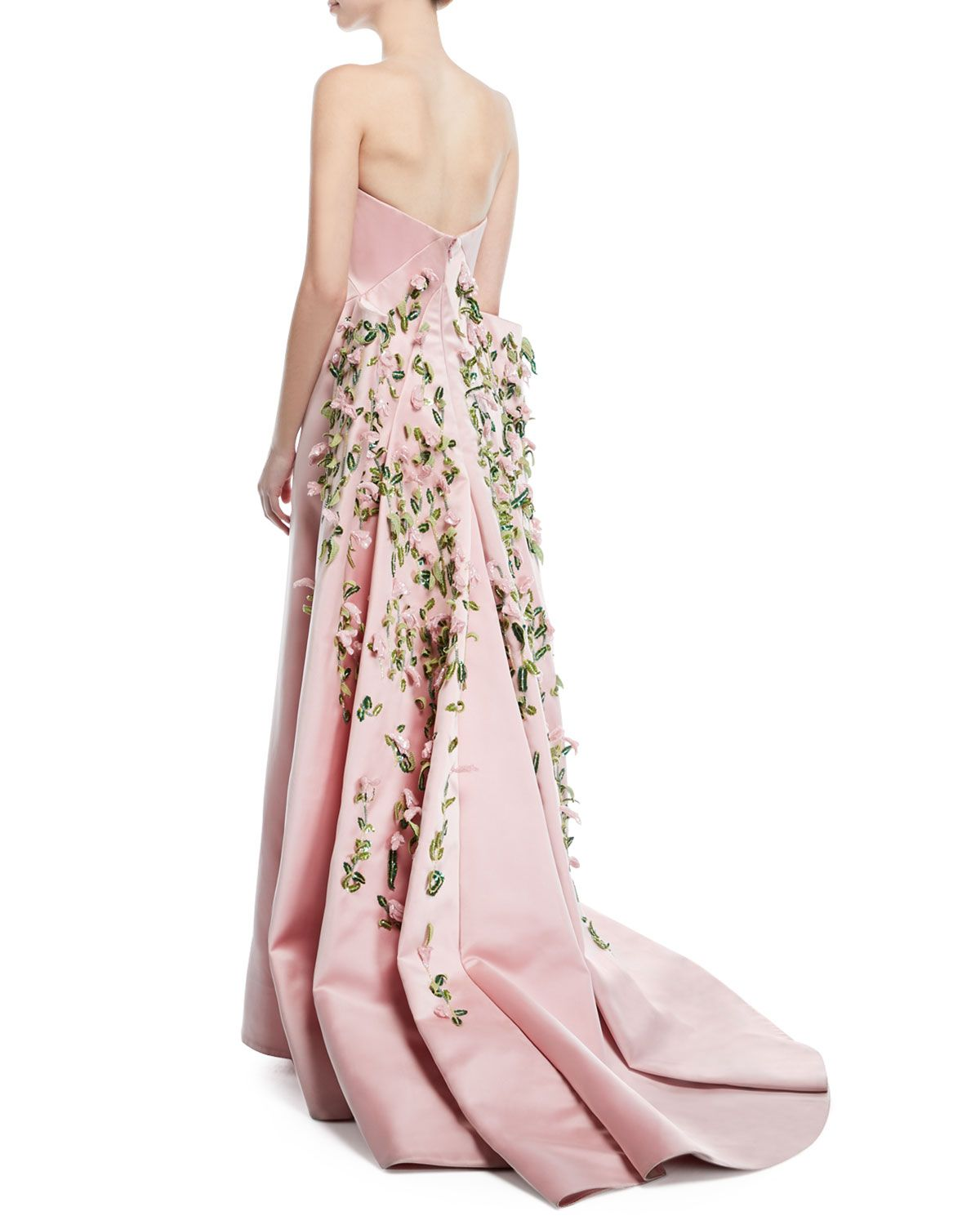 Zac Posen Strapless Duchess Satin Evening Gown With Floral Vine Embroidery Satin Evening Gown Evening Gowns Strapless Floral Dress