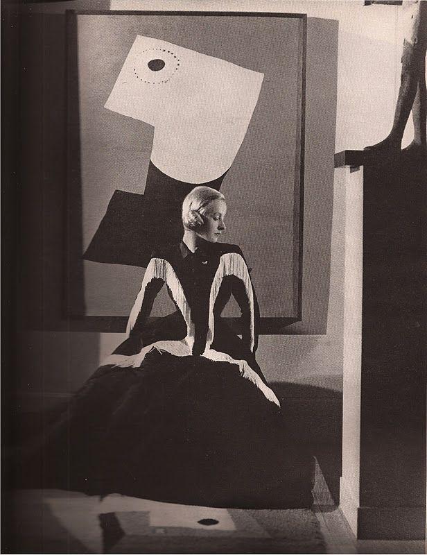 "Fringed gown by Balenciaga, ""Harper's Bazaar"", September 1939. Photo by George Hoyningen-Huene."