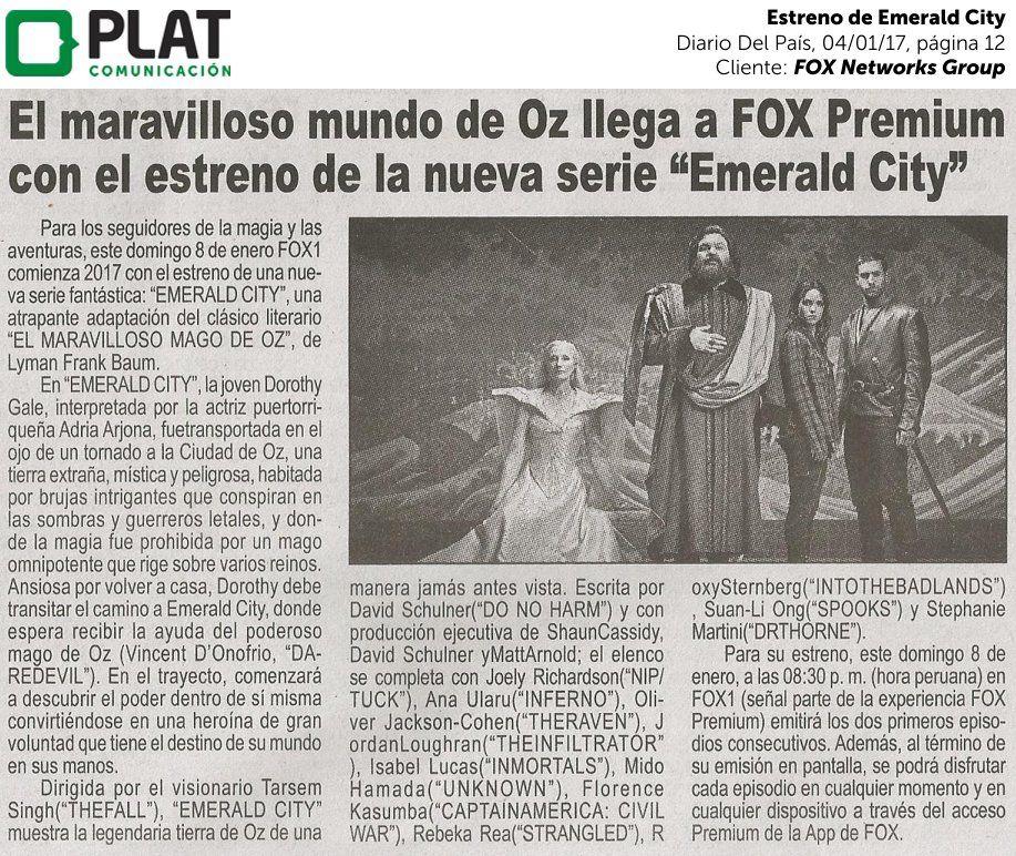 FOX Networks Group: Estreno de Emerald City en el diario Del País de Perú (04/01/17)