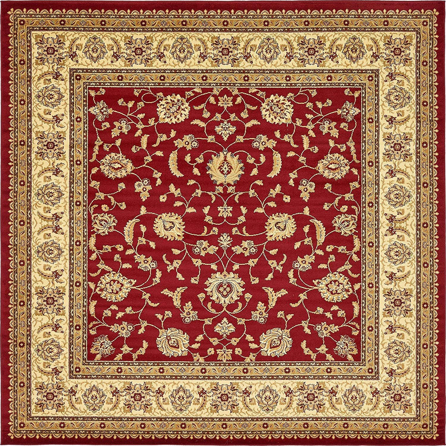 Amazonsmile Unique Loom Voyage Collection Traditional Oriental Classic Red Square Rug 10 X 10 Home Kitchen Area Rugs Square Area Rugs Floral Area Rugs