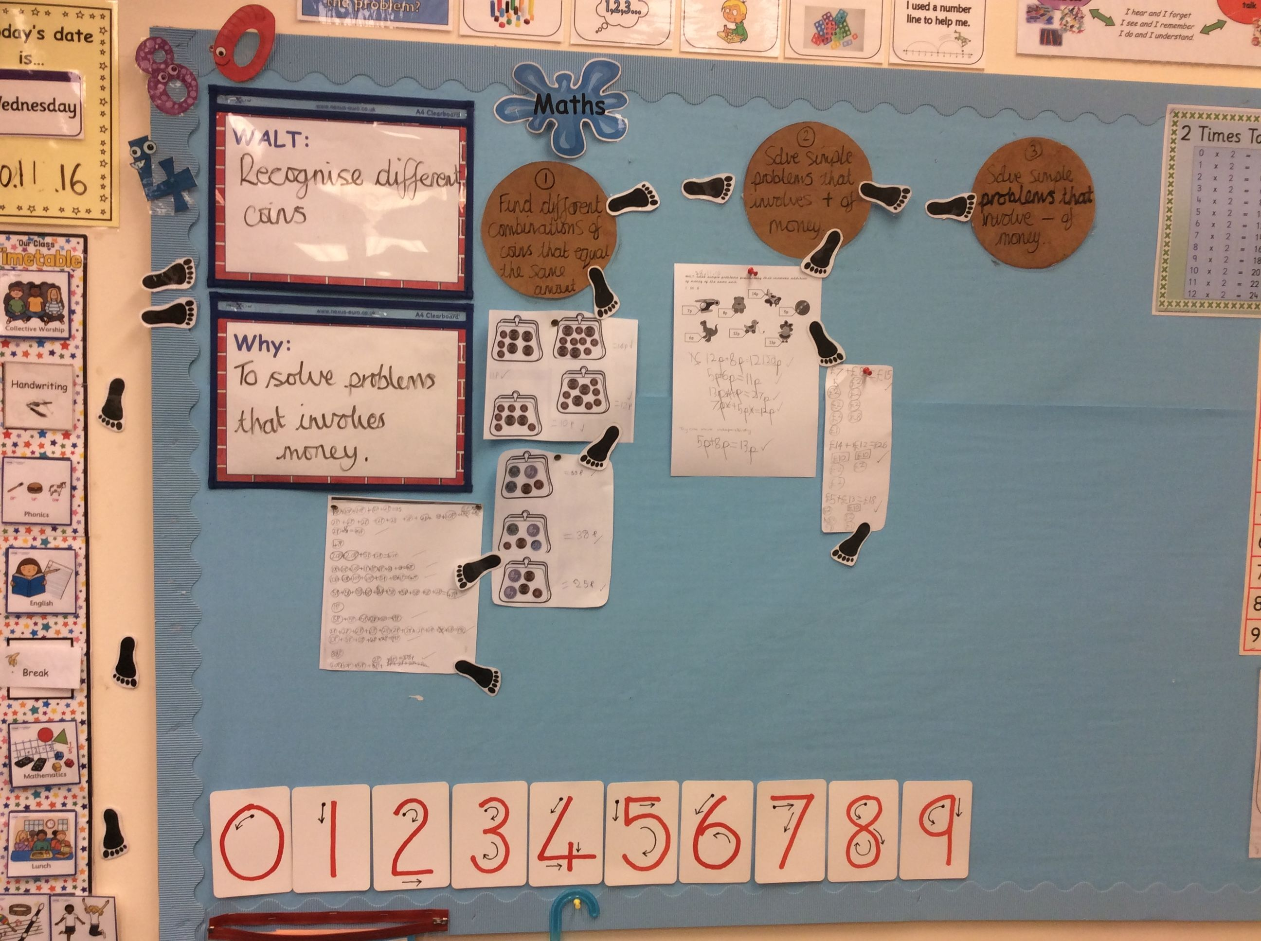 The maths display contains the learning steps to reach the WALT, which contains the main lesson objective. Children's work is also display once they have completed that step. I like that it also includes why they are learning this as it shows the children how they can apply this in everyday life. The display also demonstrates how to form letters which would be beneficial to many children and I feel this would be useful to be displayed in all ks1 and eyfs classrooms.
