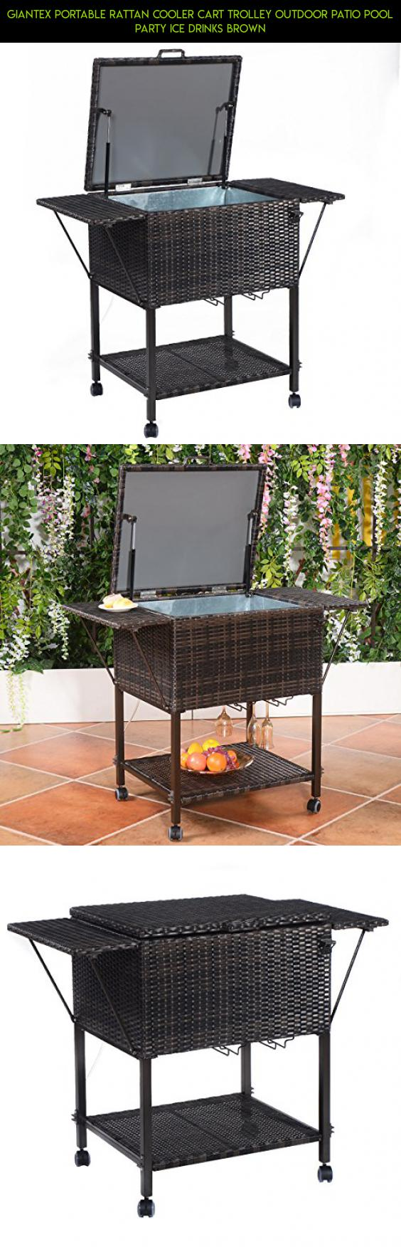 Giantex Portable Rattan Cooler Cart Trolley Outdoor Patio Pool Party Ice  Drinks Brown #bins #