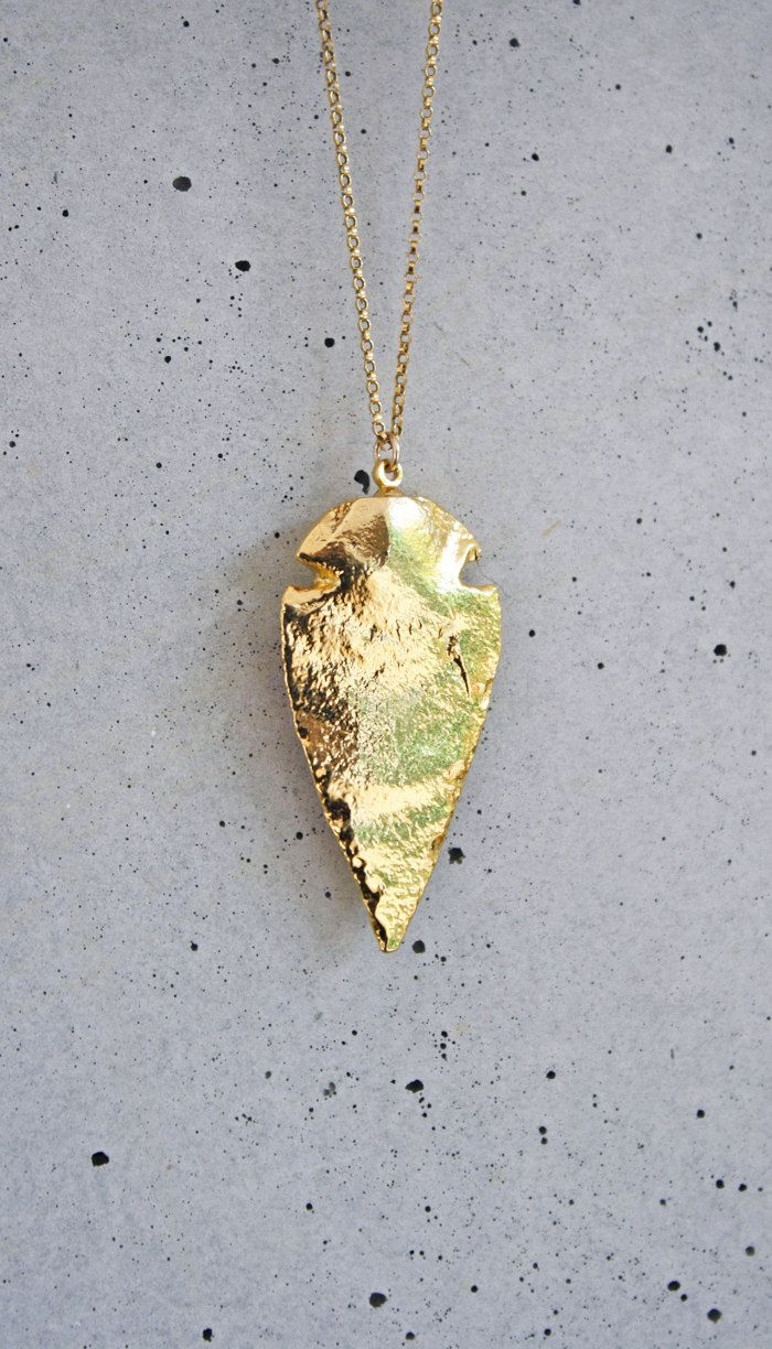 BACKORDER+9/17++24k+Gold+Arrowhead+Necklace+by+shopkei+on+Etsy,+$52.00