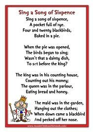 Sing A Song Of Sixpence Nursery Rhyme Pinned By Marion Whitnell