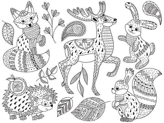 Tribal Animals Clip Art Vector Animals Clipart Tribal Etsy Tribal Animals Animal Clipart Zentangle Animals