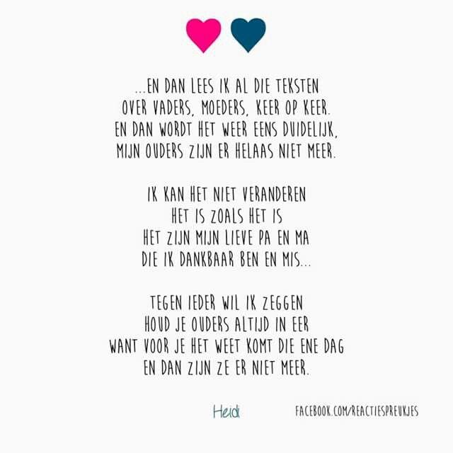 Goede Mis jullie... Mooie tekst over het verlies van ouders #papa #mama UA-22