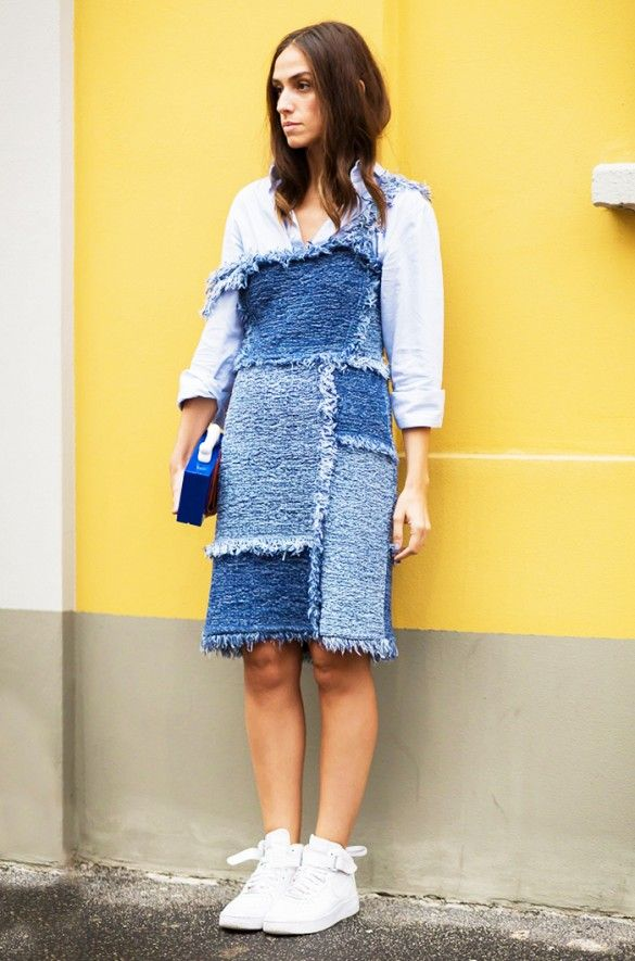 Try wearing an off-the-shoulder denim dress