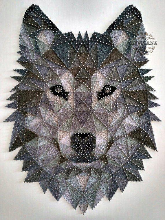String Art Wolf Wood Wall Art Gray Tones Animals String Art Lion