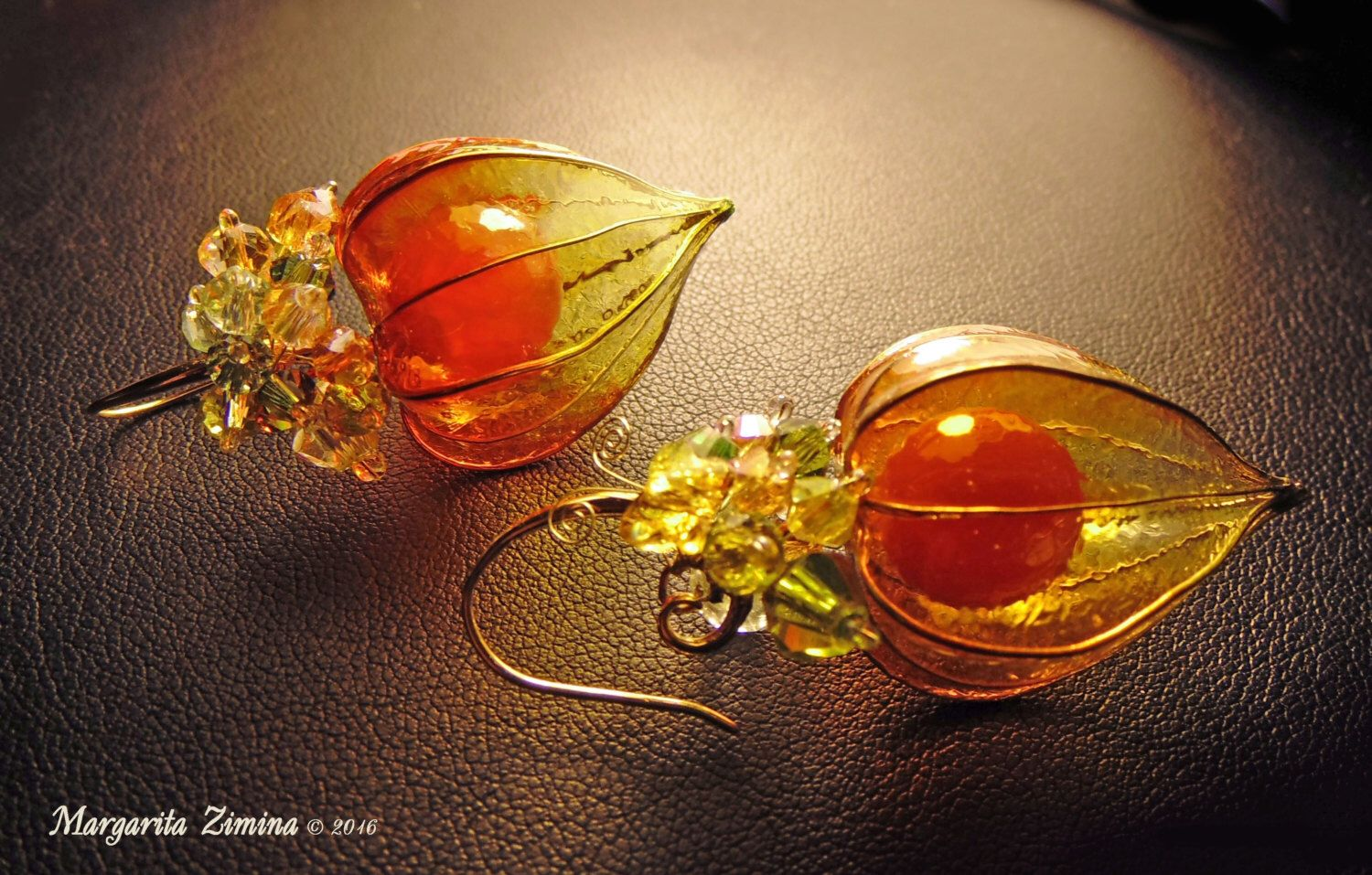 Physalis - Earrings. by MargaritaZimina on Etsy https://www.etsy.com/listing/387276580/for-sale-finished-work-physalis-earrings
