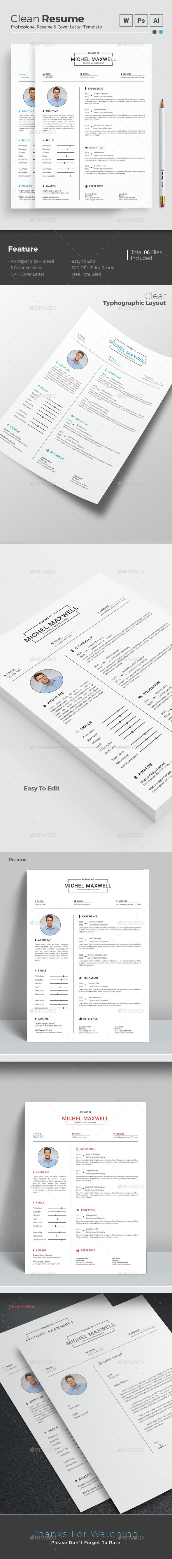 Simple U0026 Clean Resume Template PSD. Download Here:  Http://graphicriver.net/item/simple Clean Resume/14938211?refu003dksioks