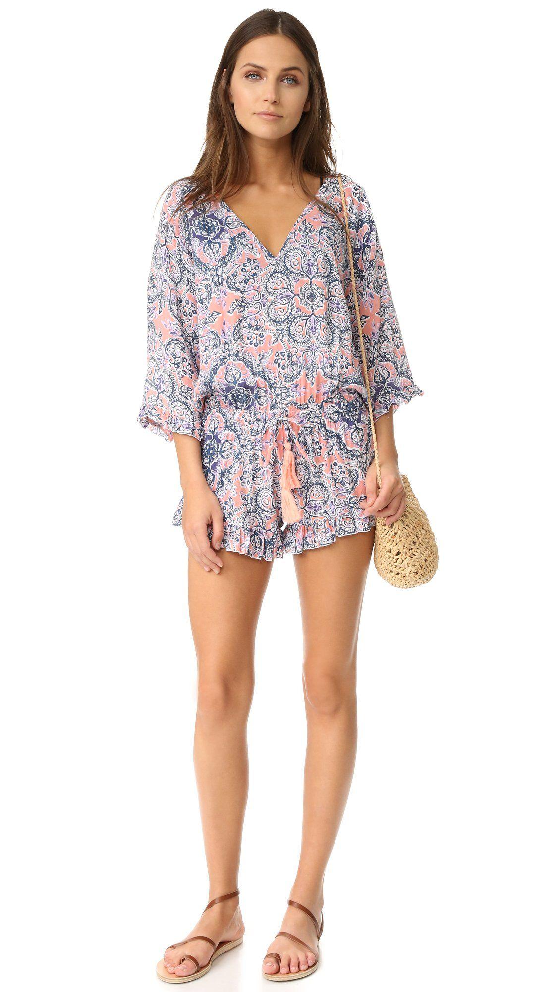 695d4aed34 Tiare Hawaii Womens Pahoa Romper Batik Peach/Gray One Size *** Learn ...