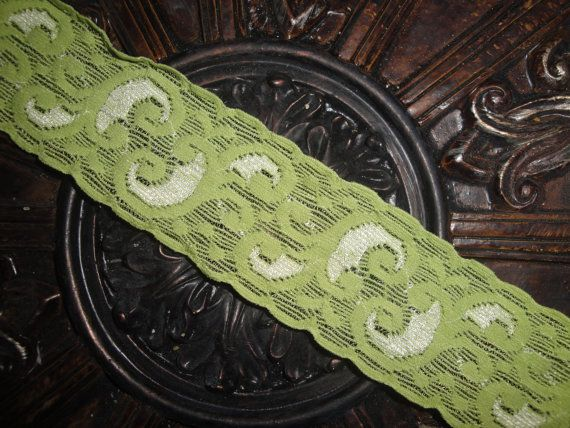 """1 3/4"""" lime green stretch lace headband or purchase by the yard for your own craft or project!!"""