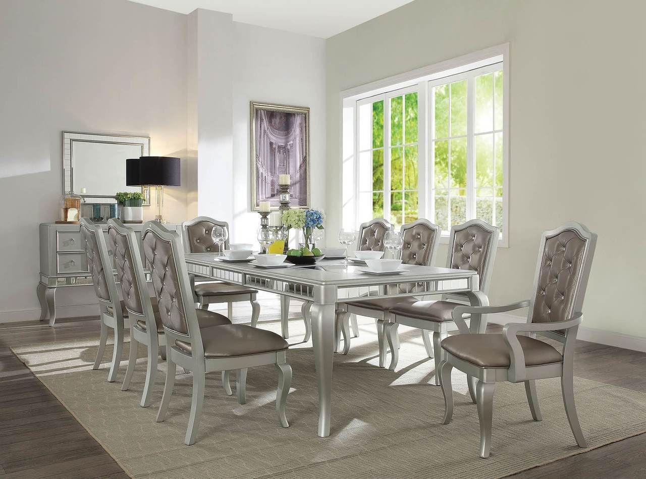 Awe Inspiring Acme 62080 Champagne Dining Room Table With 6 Chairs Bralicious Painted Fabric Chair Ideas Braliciousco