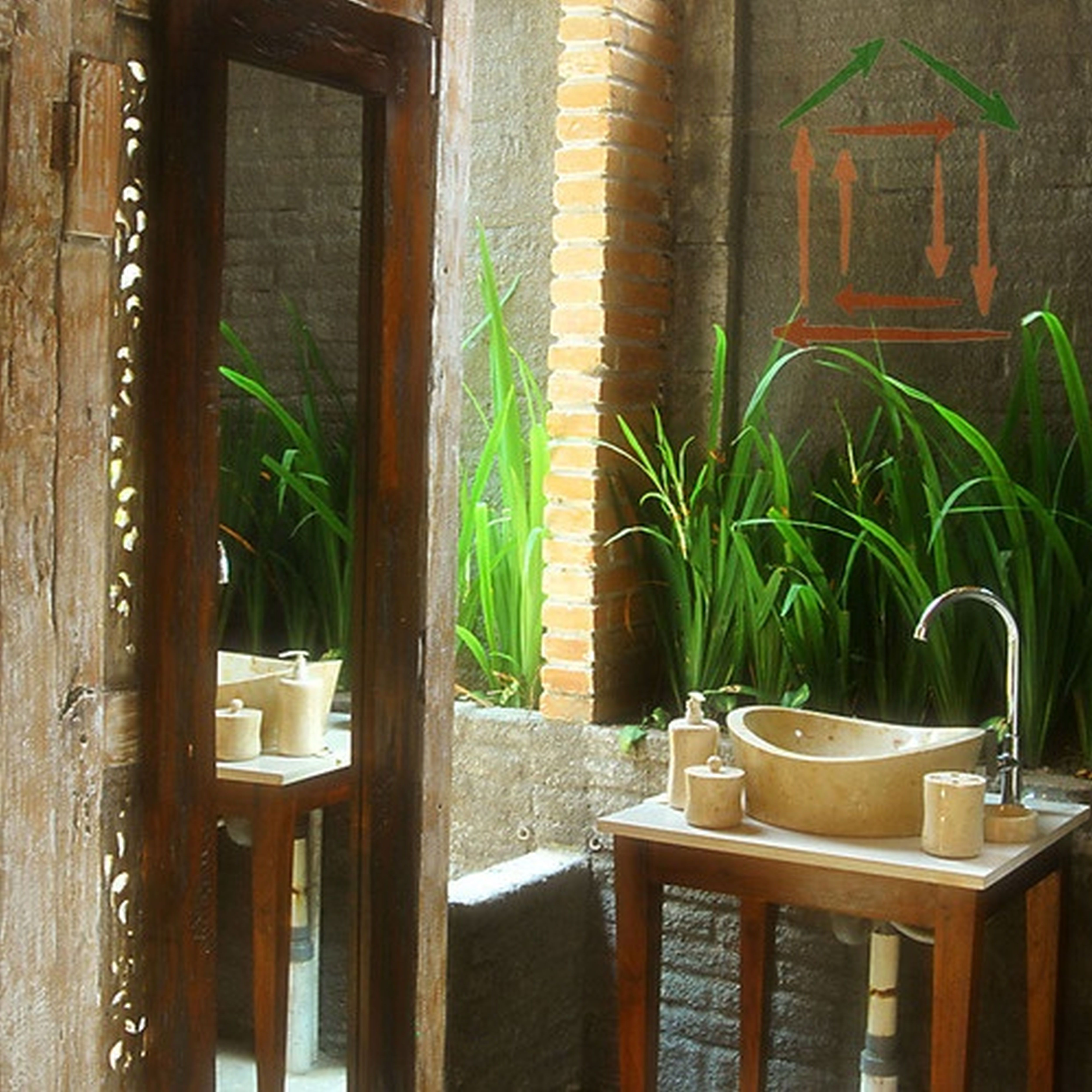 50 Awesome Tropical Bathroom Design Ideas With Wash Hand Lerge Mirror