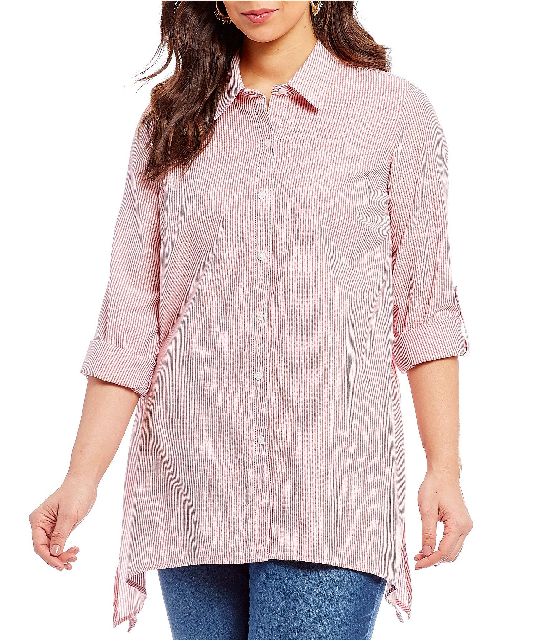 Westbound Plus Button Front Tunic Top  2d5f919c2dbb1