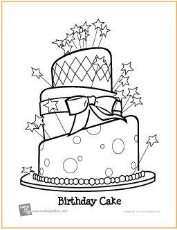 birthday cake free coloring page httpmakingartfuncomhtm