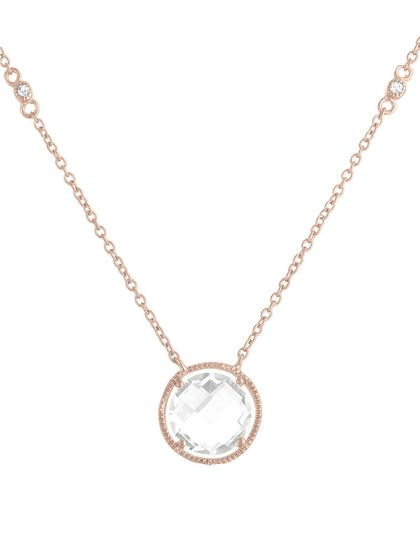 Rose Gold & Clear Quartz Open Circle Pendant Necklace by Genevive Jewelry