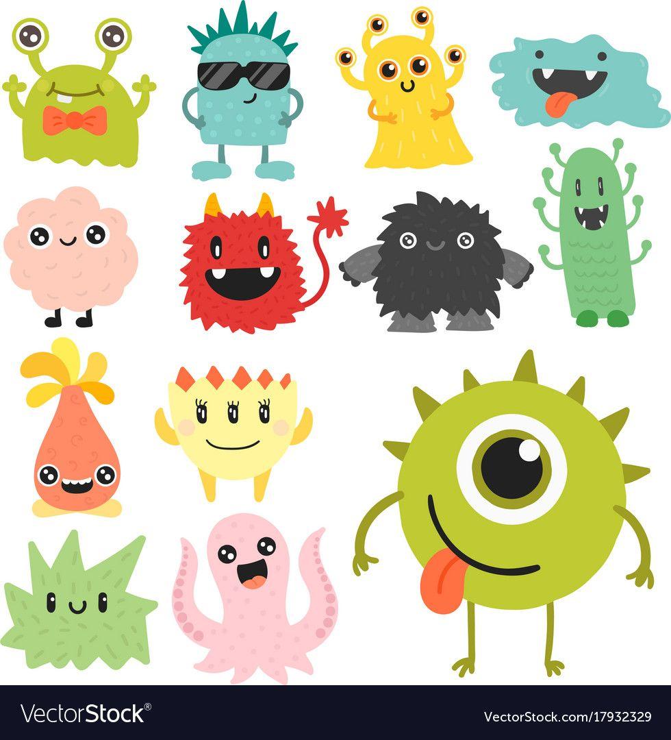 Funny Cartoon Monster Cute Alien Character Vector Image Cartoon Monsters Cute Alien Monster Illustration