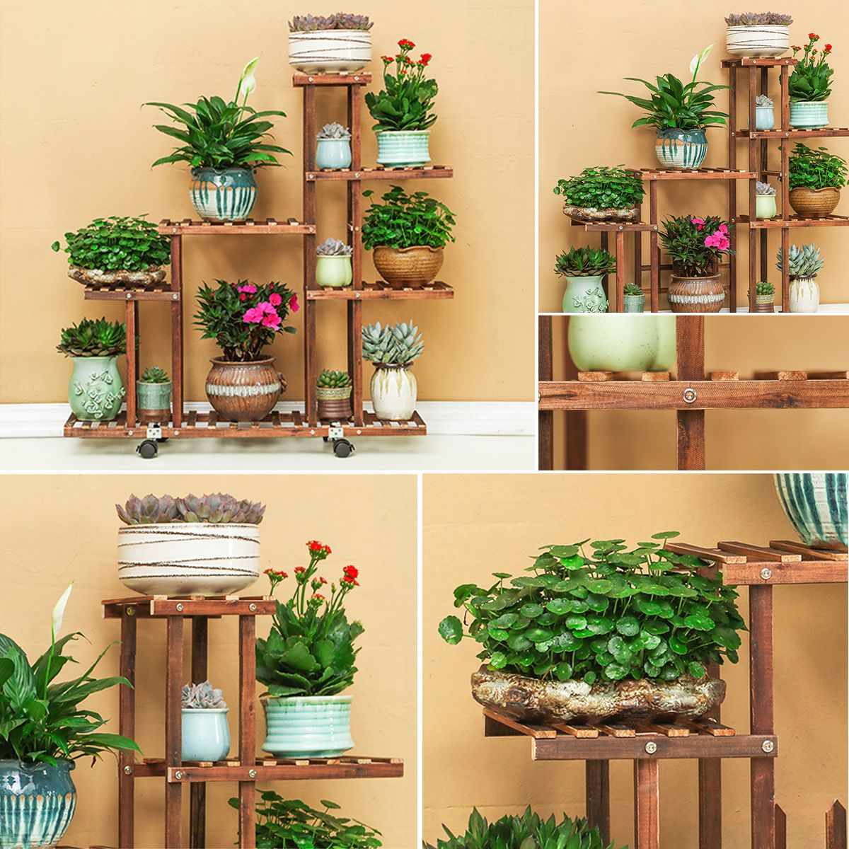 Fir Wood Plant Flower Pot Stand Shelf Rack Display Wheels