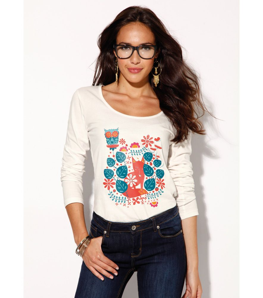cde19522c3 Camiseta mujer manga larga estampada Moda Mujer 40 Venca
