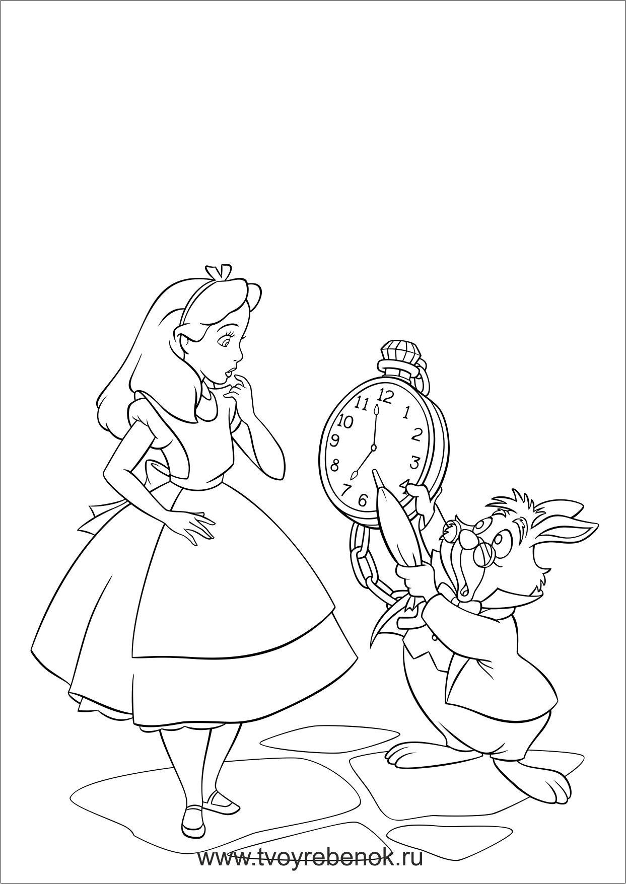 Alice In Wonderland Drawings Alice In Wonderland Cartoon Disney Coloring Pages [ 1756 x 1243 Pixel ]