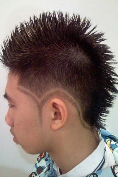Rebellious Mohawk Style With Designs Around The Edge