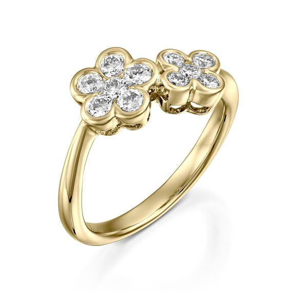 Yellow gold diamond flower ring flower engagement ring for women yellow gold diamond flower ring flower engagement jewelry ring etsymktgtool httpetsy2c5aphr diamondflowerring weddingband mightylinksfo