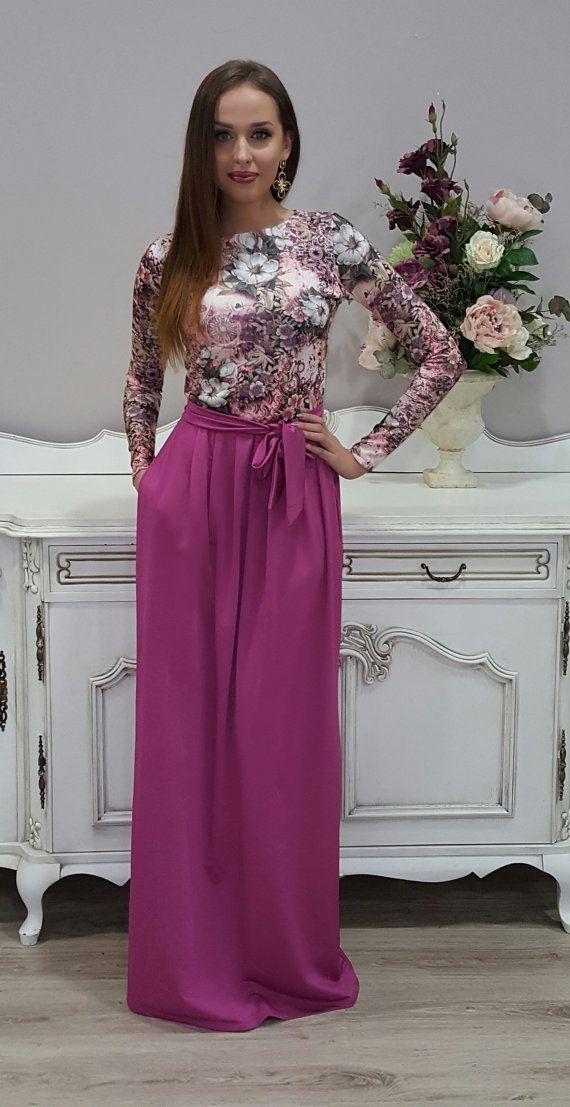 Dusky Pink Floral Maxi Dress Long Sleeves Pockets | Falda, Faldas ...