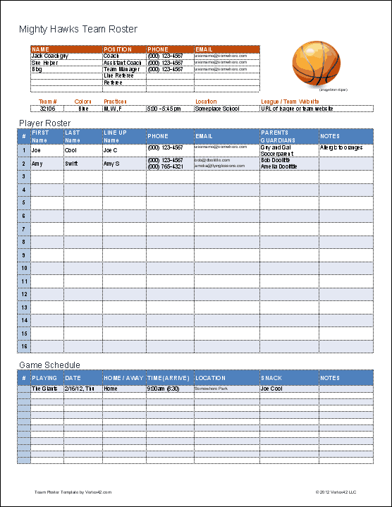 Create a printable basketball roster with this Excel template – Football Roster Template