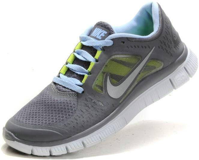 Womens Nike Free Run 3 Dark Grey Light Blue Shoes Light Blue Shoes Nike Women Blue Shoes