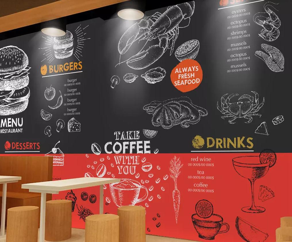 3D Doodle Hamburger Coffee 203 Ideias, Decoração, Of