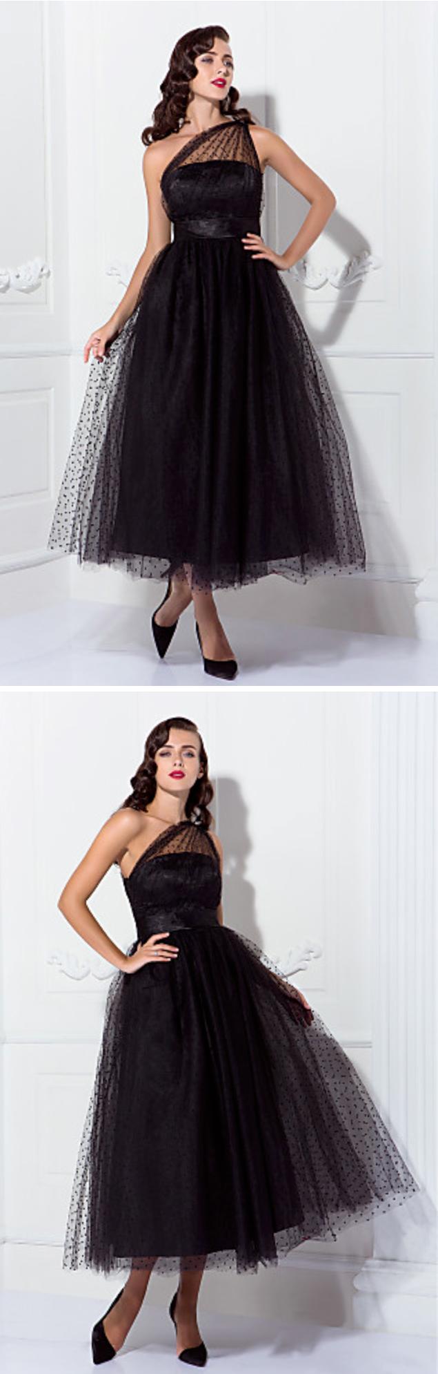 Dresses for 50th wedding anniversary party  Black tulle tea length dress  Glam  Pinterest  Tea length dresses